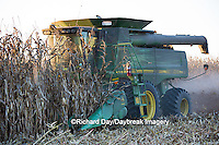 63801-06703 John Deere combine harvesting corn, Marion Co., IL