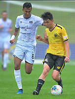 United's Karan Mandair and Wellington Phoenix's Ronan Wynne in action during the ISPS Handa Premiership football match between Wellington Phoenix Reserves and Hawkes Bay United at Porirua Park in Wellington, New Zealand on Sunday, 10 November 2019. Photo: Dave Lintott / lintottphoto.co.nz