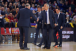 Turkish Airlines Euroleague 2017/2018.<br /> Regular Season - Round 23.<br /> FC Barcelona Lassa vs R. Madrid: 74-101.<br /> Pablo Laso &amp; Svetislav Pesic.