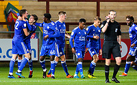 Leicester City U21s' Ryan Loft celebrates with teammates after scoring a late equaliser<br /> <br /> Photographer Alex Dodd/CameraSport<br /> <br /> The EFL Checkatrade Trophy - Northern Group B - Fleetwood Town v Leicester City U21 - Tuesday September 11th 2018 - Highbury Stadium - Fleetwood<br />  <br /> World Copyright &copy; 2018 CameraSport. All rights reserved. 43 Linden Ave. Countesthorpe. Leicester. England. LE8 5PG - Tel: +44 (0) 116 277 4147 - admin@camerasport.com - www.camerasport.com