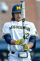 Michigan Wolverines first baseman Jordan Brewer (22) at the plate against the Western Michigan Broncos on March 18, 2019 in the NCAA baseball game at Ray Fisher Stadium in Ann Arbor, Michigan. Michigan defeated Western Michigan 12-5. (Andrew Woolley/Four Seam Images)