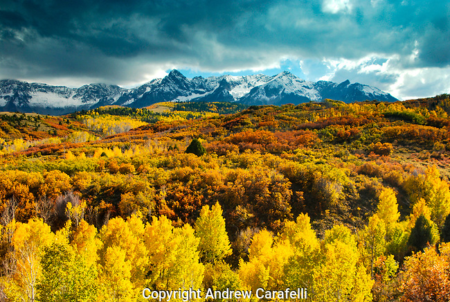 A fall storm forms over the colorful fall colors of Dallas Divide in the San Juan Mountains near Telluride,Colorado.