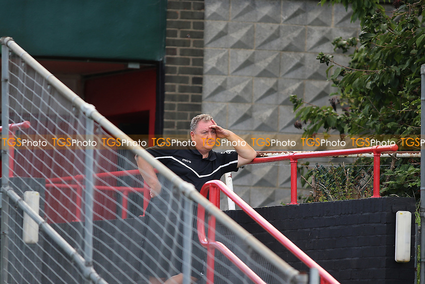 Colin McBride is sent to the stands by referee Rick Bloy and watches the remainder of the game from there during AFC Hornchurch vs Soham Town Rangers, Bostik League Division 1 North Football at Hornchurch Stadium on 12th August 2017