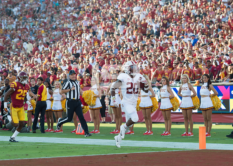 Los Angeles, Ca. - September 9, 2017: The Stanford Cardinal Football team vs the USC Trojans in the Los Angeles Memorial Coliseum. Final score Stanford Cardinal 24, USC Trojans 42.