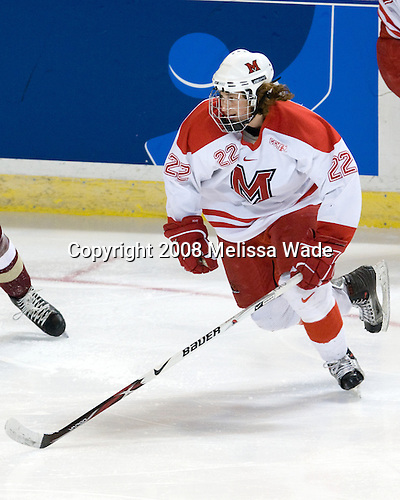 Nino Musitelli (Miami - 22) - The Boston College Eagles defeated the Miami University RedHawks 4-3 in overtime on Sunday, March 30, 2008 in the NCAA Northeast Regional Final at the DCU Center in Worcester, Massachusetts.