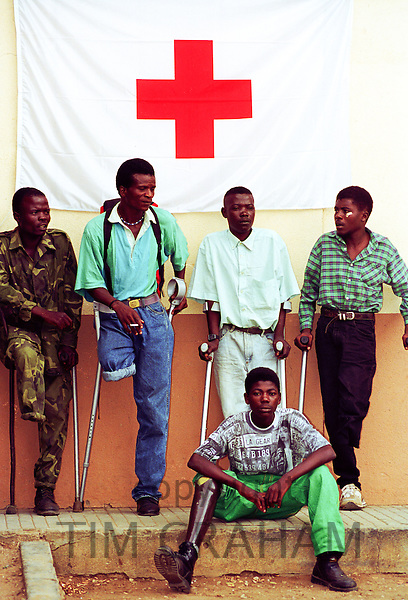 Landmine victims at Neves Bendinha, an International Committee of the Red Cross, ICRC, Orthopaedic Workshop In Luanda, Angola