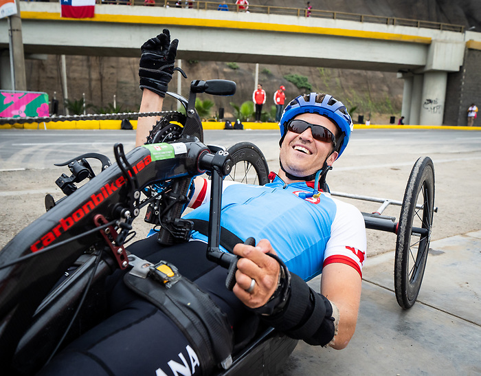Lima, Peru -  1/September/2019 -   Matthew Kinnie competes in the mens cycling H 1-2 road race at the Parapan Am Games in Lima, Peru. Photo: Dave Holland/Canadian Paralympic Committee.