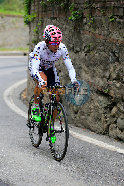 Chun Kai Feng (TPE) Lampre-Merida on the final climb of Superga near the finish of the 2015 96th Milan-Turin 186km race starting at San Giuliano Milanese, Italy. 1st October 2015.<br /> Picture: Eoin Clarke | Newsfile