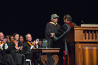 Occidental College's annual convocation for incoming first-years, Aug. 27, 2015 in Thorne Hall. Students watch as faculty receive awards of recognition, Trustees speak, President Jonathan Veitch speaks and the Glee Club sings. <br /> (Photo by Marc Campos, Occidental College Photographer)
