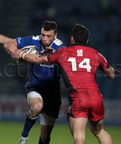 February 17th 2017, RDS Arena, Dublin, Ireland; Guinness Pro12 Rugby, Leinster versus Edinburgh; Zane Kirchner (Leinster) drives in to Damien Hoyland (Edinburgh)