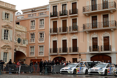 19.01.2014. Monte Carlo, Monaco. The WRC Monte Carlo rally conclusion.  Rally cars parked in the central palace