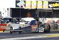 Feb 6, 2015; Pomona, CA, USA; NHRA top fuel driver Tony Schumacher during qualifying for the Winternationals at Auto Club Raceway at Pomona. Mandatory Credit: Mark J. Rebilas-USA TODAY Sports