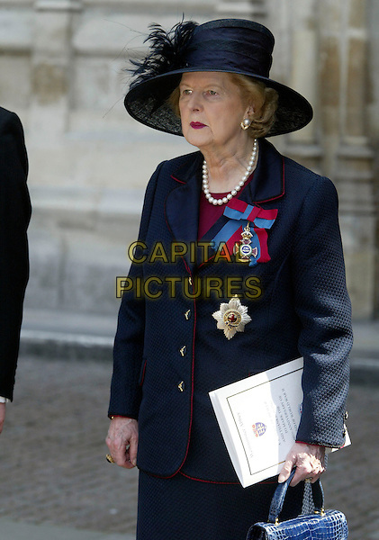 MARGARET THATCHER.60th Anniversary Of End Of World War 2.National Commemoration Day.London 10 July 2005 .Ref: FNW.WWII two half Margret hat blue dress suit feathers.www.capitalpictures.com.sales@capitalpictures.com.© Capital Pictures.