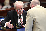 Nevada Sens. Mike Schneider, D-Las Vegas, and Joe Hardy, R-Boulder City, talk on the Senate floor Monday, May 30, 2011, at the Legislature in Carson City, Nev. .Photo by Cathleen Allison