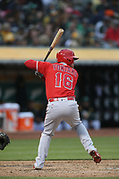 OAKLAND, CA - JUNE 15:  Nolan Fontana #16 of the Los Angeles Angels of Anaheim bats against the Oakland Athletics during the game at the Oakland Coliseum on Friday, June 15, 2018 in Oakland, California. (Photo by Brad Mangin)