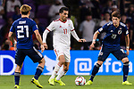 Vahid Amiri of Iran (C) fights for the ball with Sakai Hiroki of Japan (R) and Doan Ritsu of Japan (L) during the AFC Asian Cup UAE 2019 Semi Finals match between I.R. Iran (IRN) and Japan (JPN) at Hazza Bin Zayed Stadium  on 28 January 2019 in Al Alin, United Arab Emirates. Photo by Marcio Rodrigo Machado / Power Sport Images