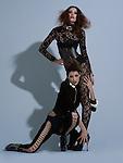 Beautiful brunette fashion models in black lace & black heels