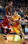 BROOKINGS, SD - MARCH 30:  Mariah Clarin #40 from South Dakota State University drives against Simone Deloach #44 from Indiana University in the first half of their WNIT quarterfinal game Sunday afternoon at Frost Arena in Brookings. (Photo by Dave Eggen/Inertia)