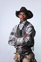 Portrait of an indigenous rodeo cowboy.  Mareeba Rodeo, Mareeba, Queensland, Australia