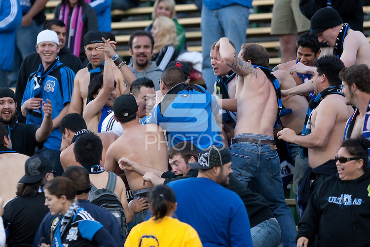 San Jose Earthquakes fans. The Chicago Fire defeated the San Jose Earthquakes after going 5-4 on penalty kicks, after a 2-2 score in regulation during the US Open Cup at Buck Shaw Stadium in Santa Clara, California on May 24th, 2011.