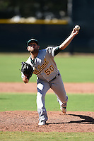 Oakland Athletics pitcher Mike Fagan (50) during an Instructional League game against the San Francisco Giants on October 13, 2014 at Giants Baseball Complex in Scottsdale, Arizona.  (Mike Janes/Four Seam Images)