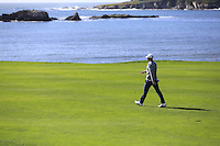 Dustin Johnson (USA) on the 6th hole at Pebble Beach Golf Links during Saturday's Round 3 of the 2017 AT&amp;T Pebble Beach Pro-Am held over 3 courses, Pebble Beach, Spyglass Hill and Monterey Penninsula Country Club, Monterey, California, USA. 11th February 2017.<br /> Picture: Eoin Clarke | Golffile<br /> <br /> <br /> All photos usage must carry mandatory copyright credit (&copy; Golffile | Eoin Clarke)