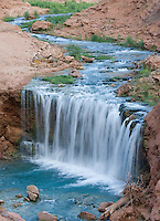 8/2/09 Havasupai-- Rock Falls was created by the flash flood in .Havasu Canyon in August of 2008. Several of the Havasupai  waterfalls were damaged and changed in the flood. Over 25,000 people visit the falls every year. (Pat Shannahan/ The Arizona Republic)