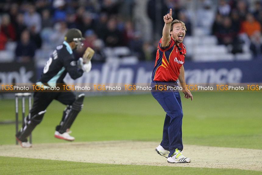 Zander de Bruyn is trapped lbw by Graham Napier, his second wicket of four in four balls - Essex Eagles vs Surrey Lions - Yorkshire Bank YB40 Cricket at the Essex County Ground, Chelmsford - 03/06/13 - MANDATORY CREDIT: Gavin Ellis/TGSPHOTO - Self billing applies where appropriate - 0845 094 6026 - contact@tgsphoto.co.uk - NO UNPAID USE