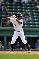 Center fielder Kyle Lewis (20) of the Mercer Bears bats in a SoCon Tournament game against the Furman Paladins on Thursday, May 26, 2016, at Fluor Field at the West End in Greenville, South Carolina. Mercer won, 6-1. Lewis is considered a 2016 Top 5 draft pick. (Tom Priddy/Four Seam Images)
