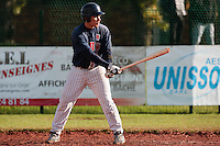 16 October 2010: Boris Marche of Rouen is seen at bat during Rouen 16-4 win over Savigny, during game 1 of the French championship finals, in Savigny sur Orge, France.