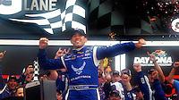 Aric Almirola celebrates after winning the Coke Zero 400, Daytona International Speedway, Daytona Beach , Florida, July 2014.  (Photo by Brian Cleary/www.bcpix.com)