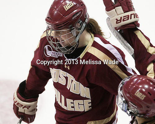 Taylor Wasylk (BC - 9) - The Boston College Eagles defeated the Harvard University Crimson 2-1 in the 2013 Beanpot opening round on Tuesday, February 5, 2013, at Matthews Arena in Boston, Massachusetts.