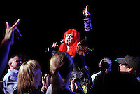 CYNDI LAUPER, organizer of the TRUE COLORS tour, takes her message into the audience at Radio City Music Hall during concert tour supporting the Human Rights Campaign.  1260 6th Av., NYC.  Newsday/ARI MINTZ  6/18/2007.