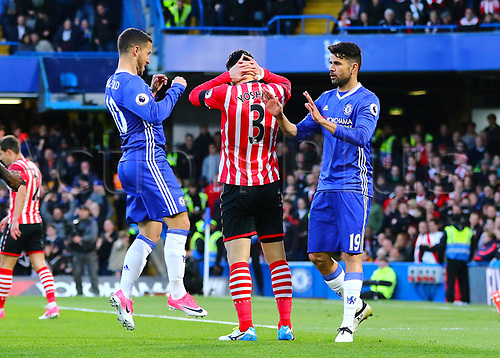 April 25th 2017, Stamford Bridge, Chelsea, London England; EPL Premier league football, Chelsea FC versus Southampton; Eden Hazard of Chelsea celebrates with Diego Costa after Hazards shot beats Southampton Goalkeeper Fraser Forster in the 5th minute, 1-0 Chelsea