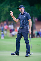 Dustin Johnson (USA) after sinking his birdie putt on 10 during Sunday's final round of the PGA Championship at the Quail Hollow Club in Charlotte, North Carolina. 8/13/2017.<br /> Picture: Golffile | Ken Murray<br /> <br /> <br /> All photo usage must carry mandatory copyright credit (&copy; Golffile | Ken Murray)