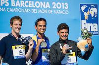 Orlando Duque COL gold medal, Gary Hunt GBR silver medal, Jonathan Paredes MEX bronze medal<br /> Men's 27m competition<br /> High Diving<br /> 15th FINA World Aquatics Championships<br /> Barcelona 19 July - 4 August 2013<br /> Palau Sant Jordi, Barcelona (Spain) 31/07/2013 <br /> &copy; Giorgio Perottino / Deepbluemedia.eu / Insidefoto