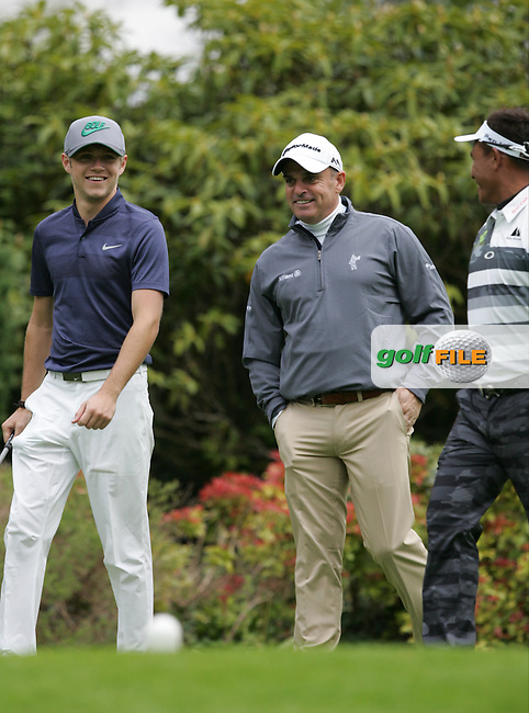 Thongchai Jaidee (THA) and Paul McGinley (IRL) with Niall Horan during Wednesday's Pro-Am ahead of the 2016 Dubai Duty Free Irish Open Hosted by The Rory Foundation which is played at the K Club Golf Resort, Straffan, Co. Kildare, Ireland. 18/05/2016. Picture Golffile | TJ Caffrey.<br /> <br /> All photo usage must display a mandatory copyright credit as: &copy; Golffile | David Lloyd.
