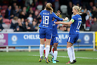Maren Mjelde celebrates scoring Chelsea's opening goal during Chelsea Ladies vs Liverpool Ladies, FA Women's Super League FA WSL1 Football at Kingsmeadow on 7th October 2017