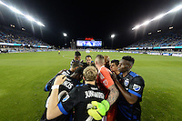 San Jose, CA - Saturday, March 04, 2017: San Jose Earthquakes huddle prior to a Major League Soccer (MLS) match between the San Jose Earthquakes and the Montreal Impact at Avaya Stadium.