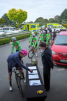 Riders sign in for day one of the NZ Cycle Classic UCI Oceania Tour in Wairarapa, New Zealand on Wednesday, 15 January 2020. Photo: Dave Lintott / lintottphoto.co.nz