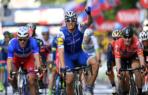 July 2nd 2017, Dusseldorf, Germany;  German race cyclist Marcel Kittel (c) of the Team Quick-Step Floors wins the stage in front of Arnaud Demare from France () of the Team FDJ and Andre Greipel from Germany of the Team Lotto Soudal after the Tour de France 2nd stage between Duesseldorf and Liege in Mettmann, Germany, 2 July 2017. The 104th Tour de France consists of 21 stages with a total distance of 3,540 kilometers.