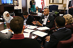 Nevada Senate Democrats Aaron Ford and Joyce Woodhouse meet with a group of higher education students at the Legislative Building in Carson City, Nev., on Monday, March 2, 2015. <br /> Photo by Cathleen Allison