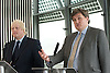 Boris Johnson <br /> London Mayor<br /> at a Press Conference with Kit Malthouse - Chair of the Metropolitan Police Authority at City Hall, London, Great Britain <br /> 18th July 2011 <br /> <br /> Boris Johnson <br /> and Kit Malthouse<br /> <br /> Photograph by Elliott Franks