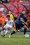 FC Internazionale Midfielder Antonio Candreva (R) fights for the ball with Bayern Munich Forward Kingsley Coman (L) during the International Champions Cup match between FC Bayern and FC Internazionale at National Stadium on July 27, 2017 in Singapore. Photo by Marcio Rodrigo Machado / Power Sport Images