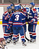 Ryan McGrath (UML - 10), Derek Arnold (UML - 29), Chad Ruhwedel (UML - 3), Riley Wetmore (UML - 16), Zack Kamrass (UML - 27) - The University of Massachusetts Lowell River Hawks defeated the Boston College Eagles 4-2 (EN) on Tuesday, February 26, 2013, at Kelley Rink in Conte Forum in Chestnut Hill, Massachusetts.