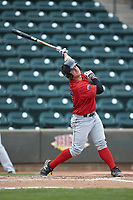 Nick Sciortino (26) of the Salem Red Sox follows through on his swing against the Winston-Salem Dash at BB&T Ballpark on April 22, 2018 in Winston-Salem, North Carolina.  The Red Sox defeated the Dash 6-4 in 10 innings.  (Brian Westerholt/Four Seam Images)