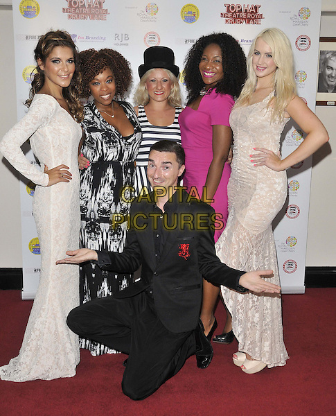 LONDON, ENGLAND - JULY 20: ( backrow, l to r ) Gemma Oaten, Dominique Moore, Katie Paine, Karen Bryson &amp; Leanne Jarvis &amp; Warren Bacci ( foreground kneeling ) attend the &quot;Top Hat&quot; charity fundraising show, Theatre Royal, Drury Lane, on Sunday July 20, 2014 in London, England, UK. <br /> CAP/CAN<br /> &copy;Can Nguyen/Capital Pictures