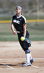 Western Nevada's Kristina George pitches against Colorado North Western at Edmonds Sports Complex Carson City, Nev., on Friday, March 18, 2016.<br /> Photo by Jeff Mulvihill, Jr.