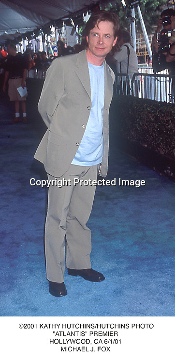 "©2001 KATHY HUTCHINS/HUTCHINS PHOTO.""ATLANTIS"" PREMIER.HOLLYWOOD, CA 6/1/01.MICHAEL J. FOX"