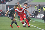 14.04.2019, Merkur Spielarena, Duesseldorf , GER, 1. FBL,  Fortuna Duesseldorf vs. FC Bayern Muenchen,<br />  <br /> DFL regulations prohibit any use of photographs as image sequences and/or quasi-video<br /> <br /> im Bild / picture shows: <br /> Rouven Hennings (Fortuna Duesseldorf #28),   im Zweikampf gegen  Serge Gnabry (Bayern Muenchen #22),  Joshua Kimmich (Bayern Muenchen #32),  <br /> <br /> Foto &copy; nordphoto / Meuter
